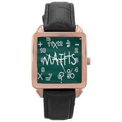 Maths School Multiplication Additional Shares Rose Gold Leather Watch