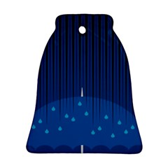 Rain Blue Sky Water Black Line Ornament (Bell)