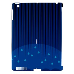 Rain Blue Sky Water Black Line Apple iPad 3/4 Hardshell Case (Compatible with Smart Cover)