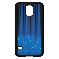 Rain Blue Sky Water Black Line Samsung Galaxy S5 Case (Black)