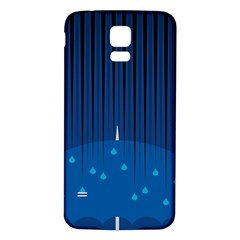 Rain Blue Sky Water Black Line Samsung Galaxy S5 Back Case (White)