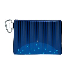 Rain Blue Sky Water Black Line Canvas Cosmetic Bag (M)