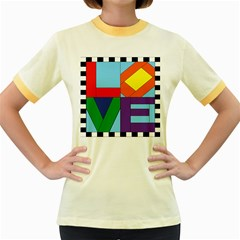 Rainbow Love Women s Fitted Ringer T-Shirts