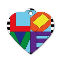 Rainbow Love Dog Tag Heart (Two Sides)