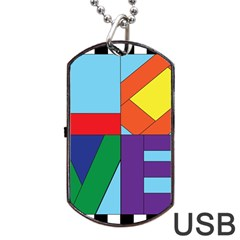 Rainbow Love Dog Tag USB Flash (One Side)