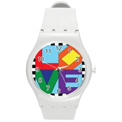 Rainbow Love Round Plastic Sport Watch (M)