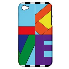 Rainbow Love Apple iPhone 4/4S Hardshell Case (PC+Silicone)