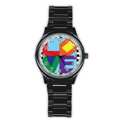 Rainbow Love Stainless Steel Round Watch