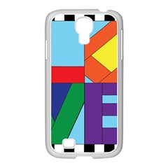 Rainbow Love Samsung GALAXY S4 I9500/ I9505 Case (White)