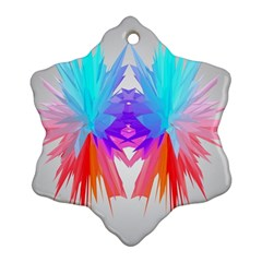 Poly Symmetry Spot Paint Rainbow Snowflake Ornament (Two Sides)
