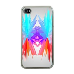 Poly Symmetry Spot Paint Rainbow Apple iPhone 4 Case (Clear)