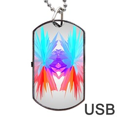 Poly Symmetry Spot Paint Rainbow Dog Tag USB Flash (One Side)