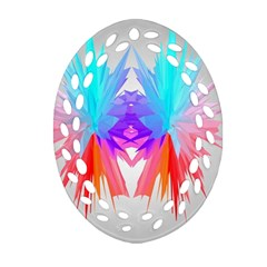 Poly Symmetry Spot Paint Rainbow Ornament (Oval Filigree)