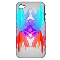 Poly Symmetry Spot Paint Rainbow Apple iPhone 4/4S Hardshell Case (PC+Silicone)