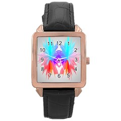 Poly Symmetry Spot Paint Rainbow Rose Gold Leather Watch
