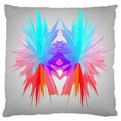 Poly Symmetry Spot Paint Rainbow Large Flano Cushion Case (Two Sides)
