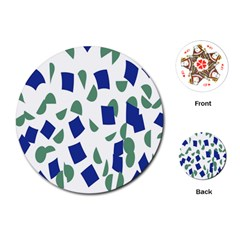 Scatter Geometric Brush Blue Gray Playing Cards (Round)