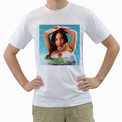 Woman In Pool Men s T-Shirt (White) (Two Sided)