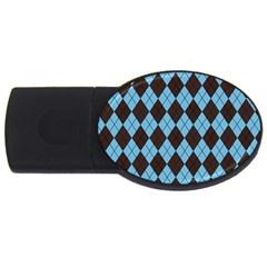 Plaid pattern USB Flash Drive Oval (1 GB)