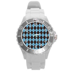Plaid Pattern Round Plastic Sport Watch (l)