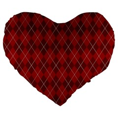 Plaid pattern Large 19  Premium Heart Shape Cushions