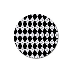 Plaid pattern Rubber Round Coaster (4 pack)