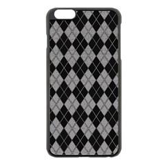 Plaid pattern Apple iPhone 6 Plus/6S Plus Black Enamel Case