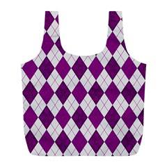 Plaid pattern Full Print Recycle Bags (L)