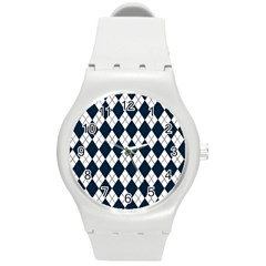 Plaid pattern Round Plastic Sport Watch (M)
