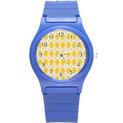 Plaid pattern Round Plastic Sport Watch (S)