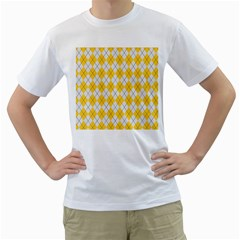 Plaid pattern Men s T-Shirt (White)