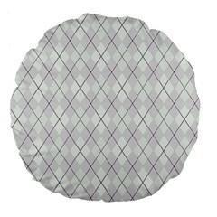 Plaid pattern Large 18  Premium Flano Round Cushions