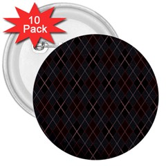Plaid pattern 3  Buttons (10 pack)