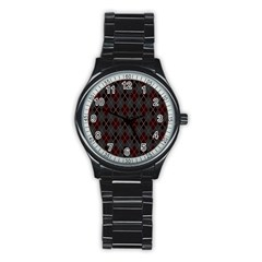 Plaid pattern Stainless Steel Round Watch