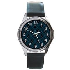 Plaid pattern Round Metal Watch