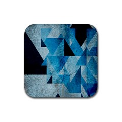 Plane And Solid Geometry Charming Plaid Triangle Blue Black Rubber Square Coaster (4 pack)