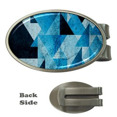 Plane And Solid Geometry Charming Plaid Triangle Blue Black Money Clips (Oval)