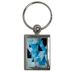 Plane And Solid Geometry Charming Plaid Triangle Blue Black Key Chains (Rectangle)
