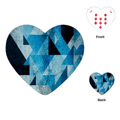 Plane And Solid Geometry Charming Plaid Triangle Blue Black Playing Cards (Heart)