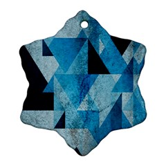 Plane And Solid Geometry Charming Plaid Triangle Blue Black Ornament (Snowflake)