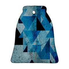 Plane And Solid Geometry Charming Plaid Triangle Blue Black Bell Ornament (Two Sides)