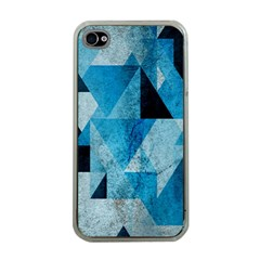 Plane And Solid Geometry Charming Plaid Triangle Blue Black Apple iPhone 4 Case (Clear)