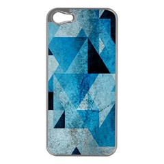 Plane And Solid Geometry Charming Plaid Triangle Blue Black Apple iPhone 5 Case (Silver)