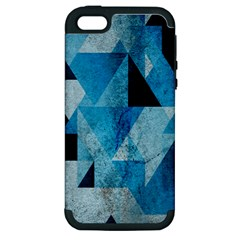 Plane And Solid Geometry Charming Plaid Triangle Blue Black Apple iPhone 5 Hardshell Case (PC+Silicone)