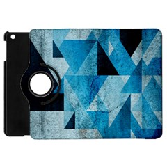 Plane And Solid Geometry Charming Plaid Triangle Blue Black Apple iPad Mini Flip 360 Case