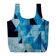 Plane And Solid Geometry Charming Plaid Triangle Blue Black Full Print Recycle Bags (l)