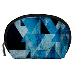 Plane And Solid Geometry Charming Plaid Triangle Blue Black Accessory Pouches (Large)