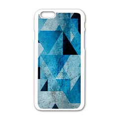 Plane And Solid Geometry Charming Plaid Triangle Blue Black Apple iPhone 6/6S White Enamel Case