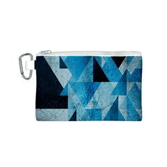 Plane And Solid Geometry Charming Plaid Triangle Blue Black Canvas Cosmetic Bag (S)