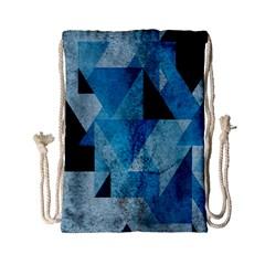 Plane And Solid Geometry Charming Plaid Triangle Blue Black Drawstring Bag (Small)